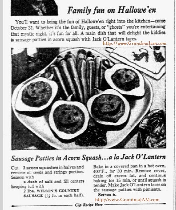 1946 Halloween Fun Recipe to Make JackOLantern Faces