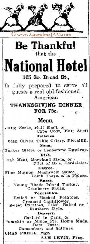 Thanksgiving Dinner Menu from the National Hotel Restaurant circa November 1914