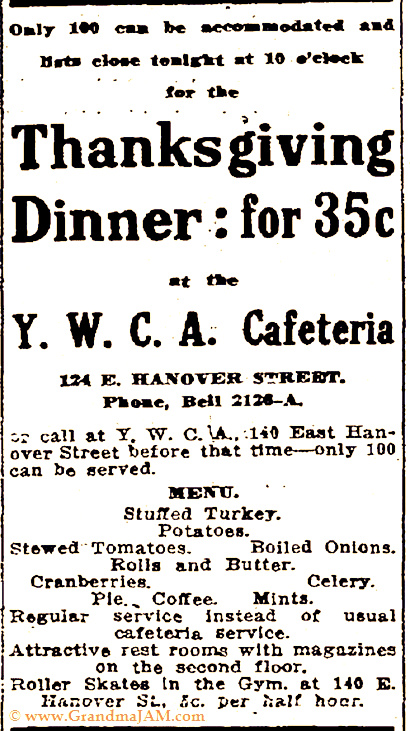Thanksgiving Menu for the YWCA Cafeteria dinner circa 1914