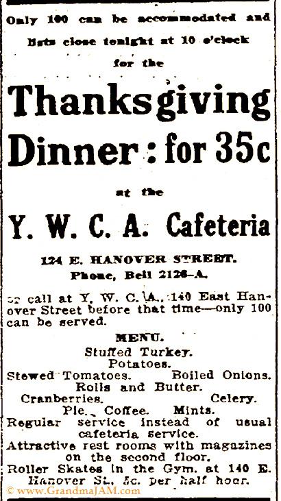 Thanksgiving Menu for the YWCA Cafeteria dinner circa 1914