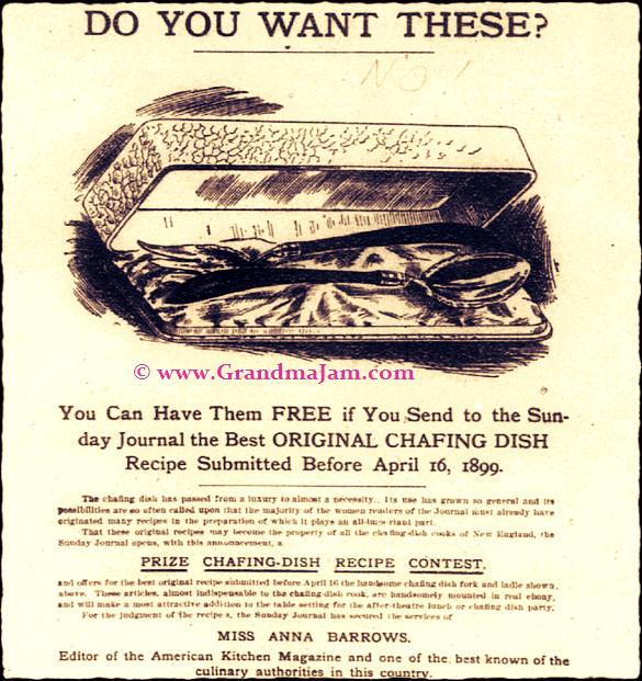 Prize Chafing Dish recipe contest for home cooks circa 1899